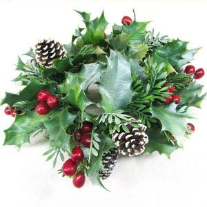 Christmas Holiday Candle Ring Plastic Greenery